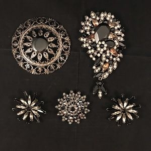 5 Black & Grey Rhinestone Brooch Brooches Pin Pins